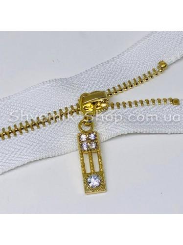Молнии металл Т-3 5 камней Размер : 18 см Цвет : Белая + Золото в упаковке 100 штук цена за упаковку