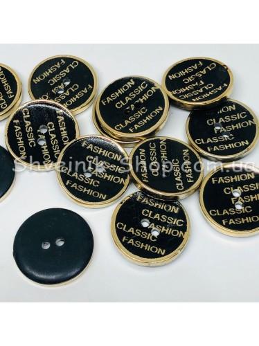 Пуговица Пластиковая на две дырки Размер 21мм Цвет : Черная + Золото в упаковке 500 штук
