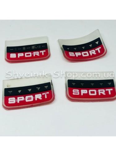 Нашивка спорт Силикон Размер : 28мм на 20 мм Цвет : Прозрачный + красный  в упаковке 500 штук