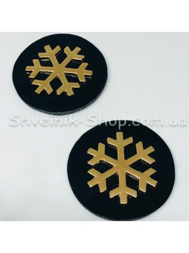 Нашивка спорт Снежинка Размер : Диамитер 42 мм Цвет : Черный в упаковке 100 штук
