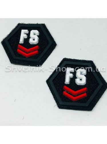 Нашивка спорт FS Размер : 38мм на 35  Цвет : Черный  в упаковке 100 штук