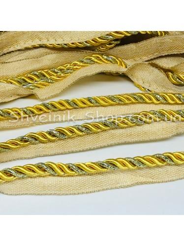 Шторный Кант Толшина Шнура 5 мм в упаковке 46 метров Цвет : Золото + Золото