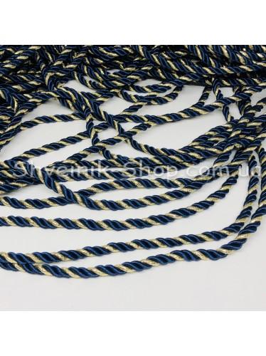 Шнур шторный ( Мебельный) Диамитер 5 мм в упаковке 46 метров Цвет : Синий + Золото