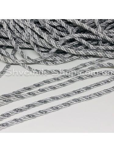 Шнур шторный ( Мебельный) Диамитер 5 мм в упаковке 46 метров Цвет : Белый + Серебро