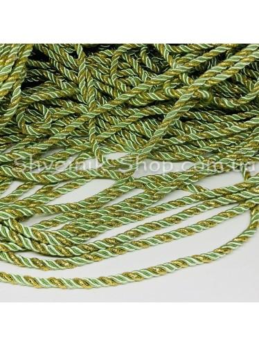 Шнур шторный ( Мебельный) Диамитер 5 мм в упаковке 46 метров Цвет : Салатовый + Золото