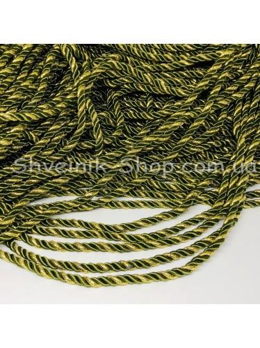Шнур шторный ( Мебельный) Диамитер 5 мм в упаковке 46 метров Цвет : Оливка + Золото