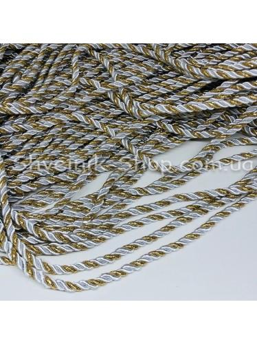 Шнур шторный ( Мебельный) Диамитер 5 мм в упаковке 46 метров Цвет : Белый + Золото