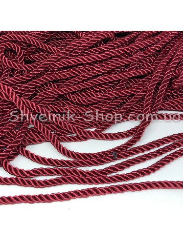 Шнур шторный ( Мебельный) Диамитер 5 мм в упаковке 46 метров Цвет : Бордо
