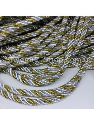 Шнур шторный ( Мебельный) Диамитер 10 мм в упаковке 46 метров Цвет : Белый + Золото