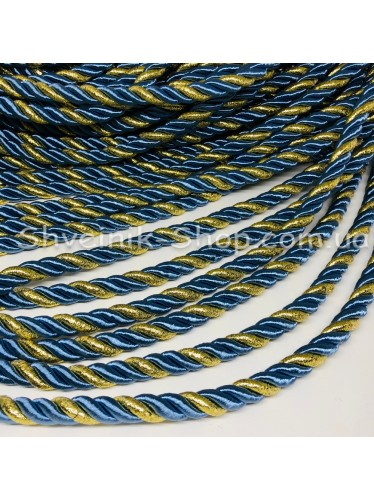 Шнур шторный ( Мебельный) Диамитер 10 мм в упаковке 46 метров Цвет : Джинсовый + Золото