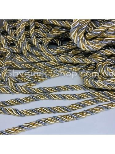 Шнур шторный ( Мебельный) Диамитер 10 мм в упаковке 46 метров Цвет : Молоко  + Серебро