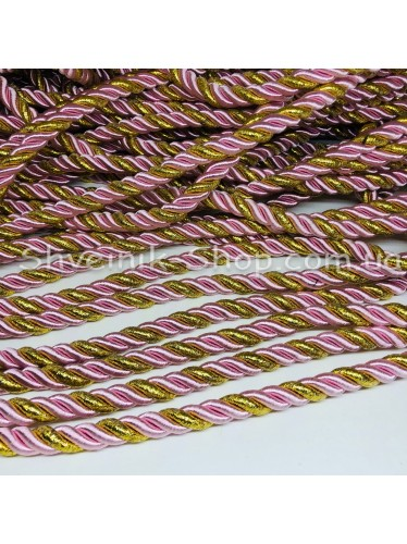 Шнур шторный ( Мебельный) Диамитер 10 мм в упаковке 46 метров Цвет : Розовый + Золото