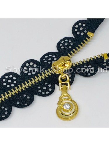Молнии металл Т-3 Ажурная Размер : 18 см Цвет : Черная + Золото  в упаковке 100 штук цена за упаковку