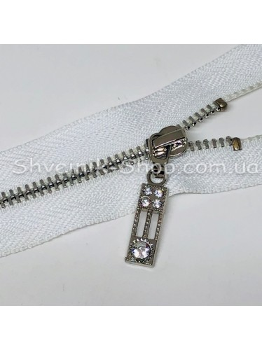 Молнии металл Т-3 5 камней Размер : 18 см Цвет : Белая + Серебро в упаковке 100 штук цена за упаковку