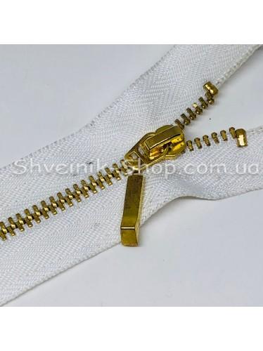 Молнии металл Т-3  Размер : 18  см Цвет : Белая + Золото в упаковке 100 штук цена за упаковку