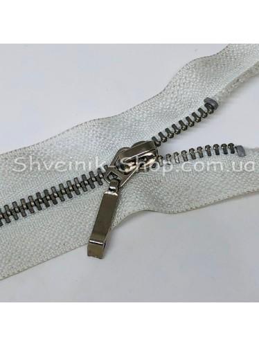 Молнии металл Т-3  Размер : 60 см Цвет : Белая + Серебро в упаковке 100 штук цена за упаковку