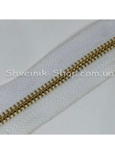 Молнии Рулонка  Т-3 металл Цвет Белая+ Золото в упаковке 92 метра