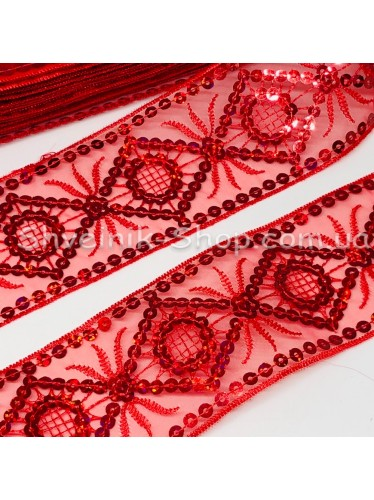 Тесьма на органзе Ромб Ширина 5,5 см Цвет Красная  в упаковке 13,8 метра цена за упаковку