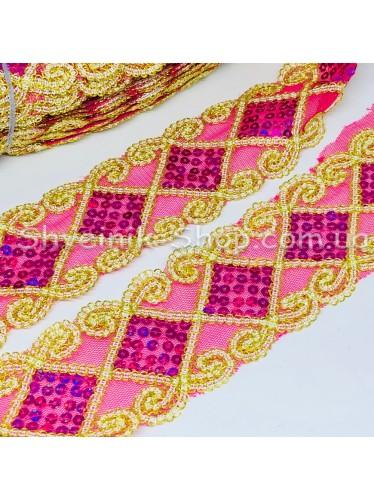 Тесьма на сетке Ромб Ширина : 6 см Цвет : Малина + Золото   в упаковке 13,8 метра цена за упаковку