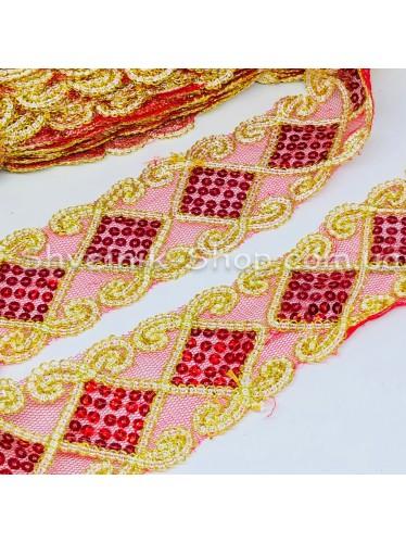 Тесьма на сетке Ромб Ширина : 6 см Цвет : Красный + Золото   в упаковке 13,8 метра цена за упаковку