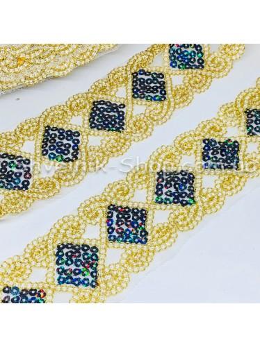 Тесьма на сетке Ромб Ширина : 6 см Цвет : Темно Синий  + Золото   в упаковке 13,8 метра цена за упаковку