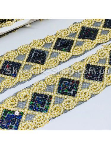 Тесьма на сетке Ромб Ширина : 6 см Цвет : Черный  + Золото   в упаковке 13,8 метра цена за упаковку