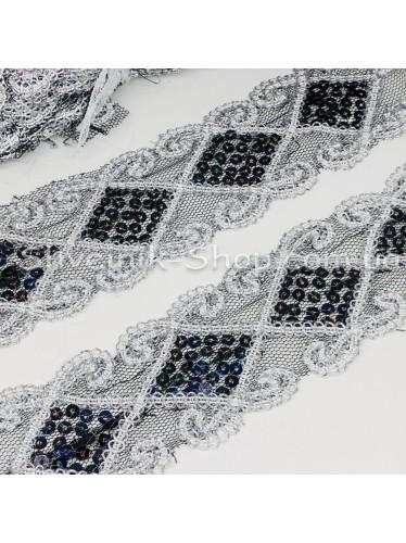 Тесьма на сетке Ромб Ширина : 6 см Цвет : Серебро  + Черный  в упаковке 13,8 метра цена за упаковку