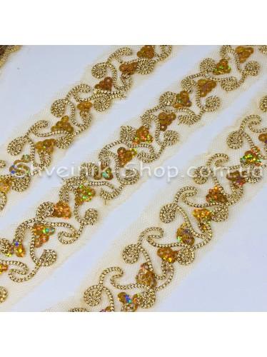 Тесьма на сетке  Ширина : 3 см Цвет : Золото АВ  в упаковке 13,8 метра цена за упаковку