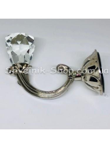 Крючки для штор в стенку с Камнем Высота : 11 см   Длина : 13 см Цвет : Серебро цена за 2 штуки