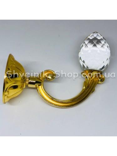 Крючки для штор в стенку с Камнем Высота : 11 см   Длина : 13 см Цвет : Золото цена за 2 штуки