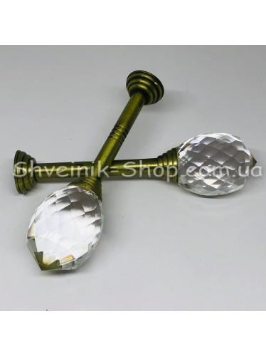Крючки для штор в стенку с Камнем Высота : 3 см   Длина : 13 см Цвет : Антик цена за 2 штуки