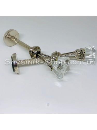 Крючки для штор в стенку с Камнем Высота : 4 см   Длина : 17 см Цвет : Серебро цена за 2 штуки