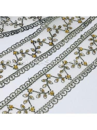 Бисерная вышивка на органзе Ширина : 4,5 cm Цвет : Серая в упаковке 9,2 метра цена за упаковку