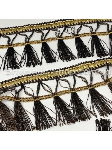 Бахрома шторная Люрикс Ширина : 7,5  см Цвет : Темно Коричневый в упаковке 15 метров
