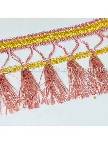 Бахрома шторная Люрикс Ширина : 7,5  см Цвет : Пудра в упаковке 15 метров