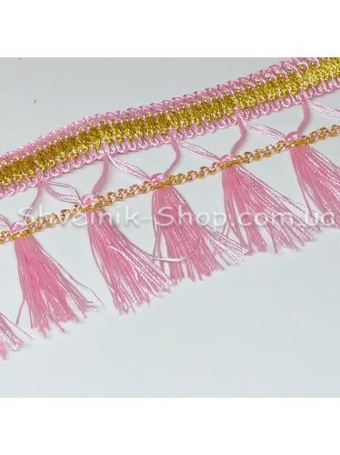 Бахрома шторная Люрикс Ширина : 7,5  см Цвет : Розовый в упаковке 15 метров