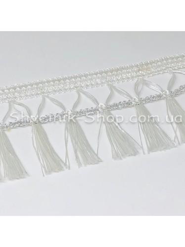 Бахрома шторная Люрикс Ширина : 7,5  см Цвет : Белый с Серебром в упаковке 15 метров