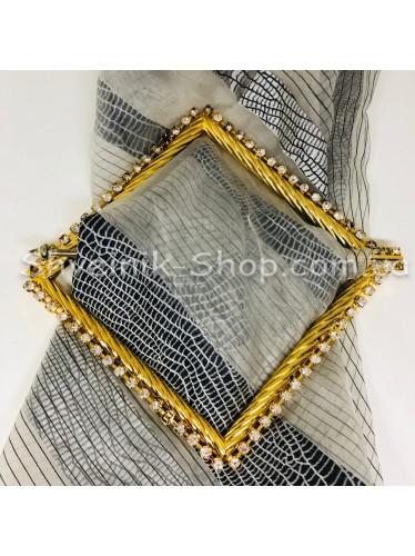 Шторная заколка Металлическая Квадрат Турция Диаметр внутрений : 12*12 cm  Цвет : Золото в упаковке 1 шт цена за упаковку