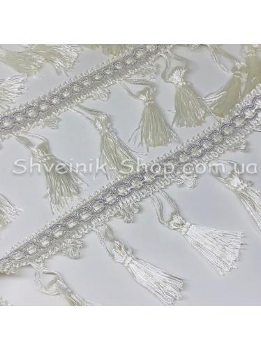 Бахрома шторная Люрикс Ширина : 7,5  см Цвет : Айвори в упаковке 15 метров