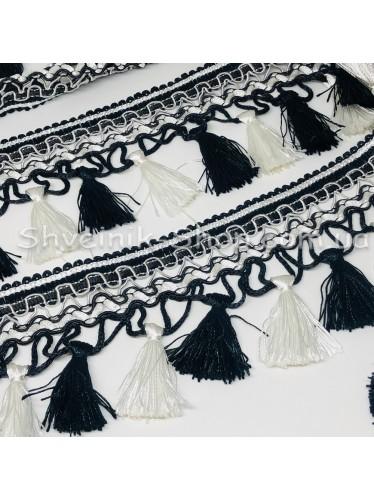 Бахрама Шторная Длина : 8 см   Цвет : Черный+ Белый в упаковке 15 метров цена за упаковку