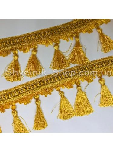 Бахрама Шторная Хрусталь + Кисточка Длина : 10 см   Цвет : Желтая  в упаковке 15 метров цена за упаковку