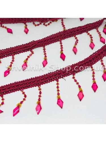 Бахрама Шторная Стекло Длина : 8 см   Цвет : Бордо в упаковке 15 метров цена за упаковку