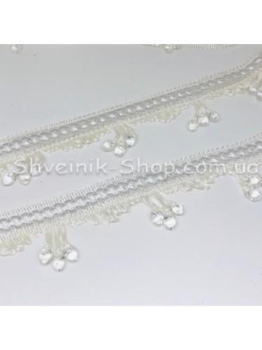 Бахрама Шторная Стекло Длина : 7 см   Цвет : Белый   в упаковке 15 метров цена за упаковку