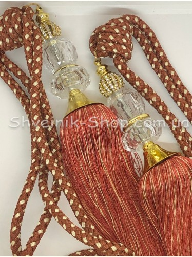 Кисти Шторные с Камнем Длина Кисти : 45 см Цвет : Теракот + золото цена за пару