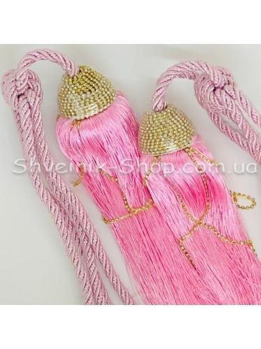 Кисти Шторные с Камнем Длина Кисти : 38 см Цвет : Розовый  цена за пару