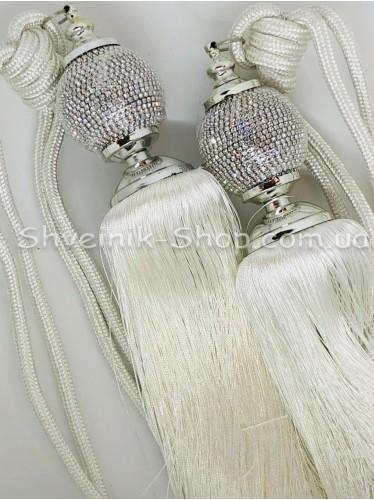 Кисти Шторные с Камнем Шар Длина Кисти : 38 см Цвет : Белые цена за пару