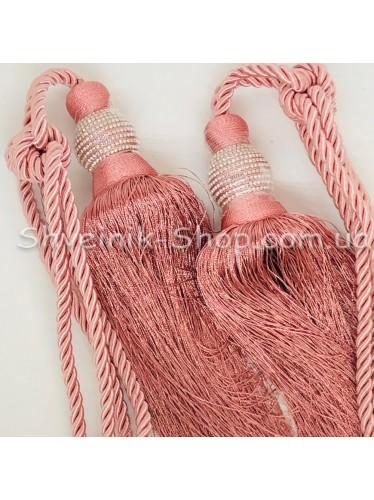 Кисти Шторные с Камнем Шар Длина Кисти : 25 см Цвет : Розовый цена за пару