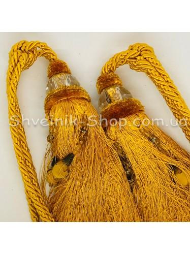 Кисти Шторные  c Стеклом Длина Кисти : 25 см Цвет : Золото  цена за пару