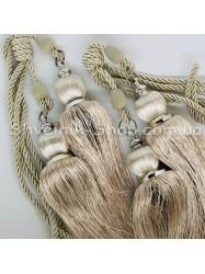 Кисти Шторные Велюр Двойные Длина Кисти : 26 см Цвет : Бежевый  цена за пару