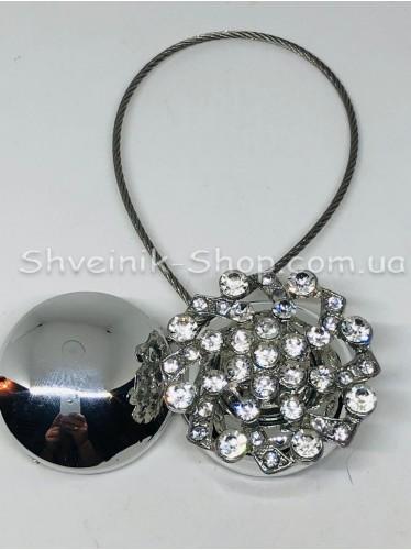 Магнит Шторный на Тросе с Камнем цвет : Серебро цена за 1 штуку